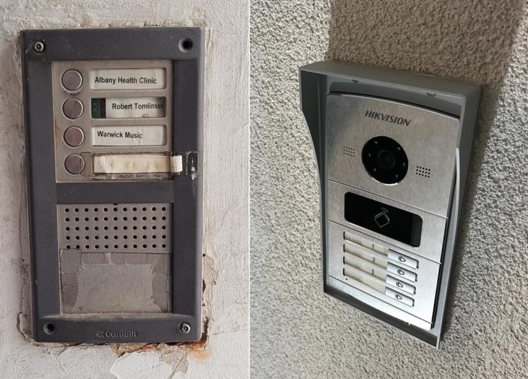 the old and new intercom outdoor station