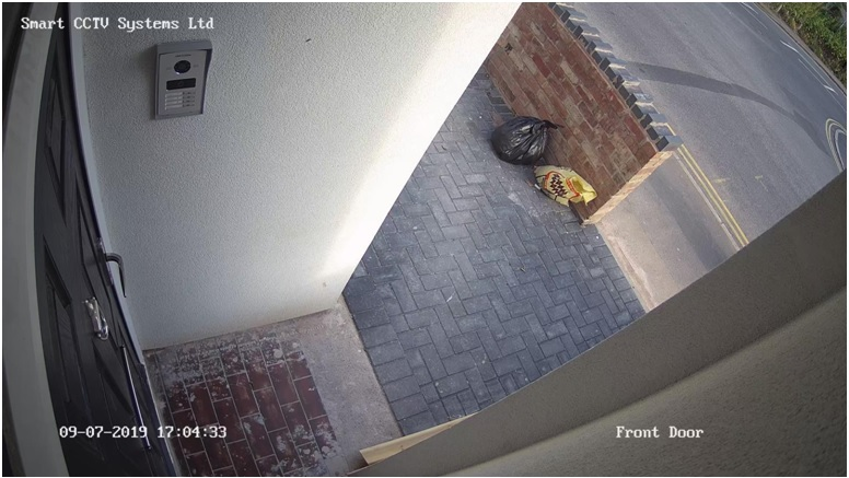 front door footage of our installed CCTV, at 5 PM