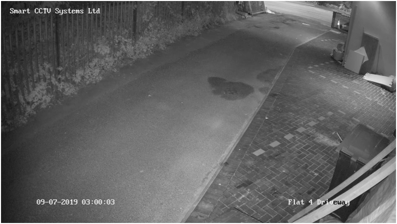 footage of Flat 4 driveway from our installed CCTV, at 3 AM